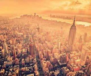 Обои на телефон новый, солнце, восход, город, здания, городские, нью йорк, туман