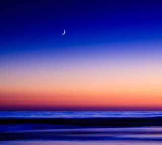 Обои на телефон сумерки, синие, океан, небо, луна, закат, sunset tranquility, del mar