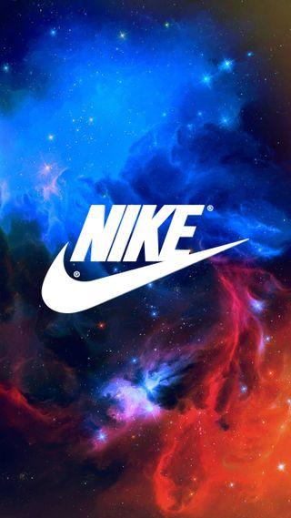 Обои на телефон galaxy, ice and fire, nike, red and blue, синие, красые, логотипы, галактика, звезды, огонь, найк, лед, бренды