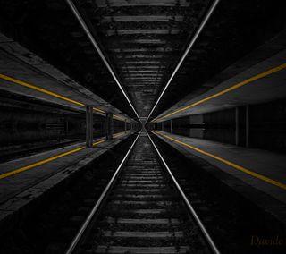 Обои на телефон станция, глубокие, поезда, линии, желтые, gallery yellow, deep gallery
