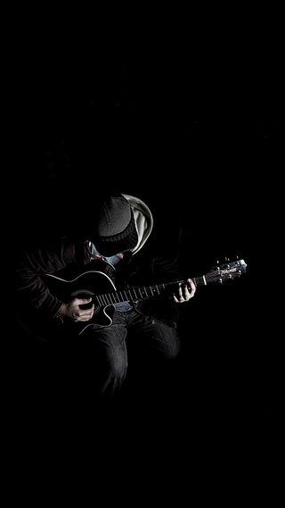 Обои на телефон гитара, черные, темные, man