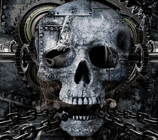 Обои на телефон металл, череп, хэллоуин, готы, metal skull, chains
