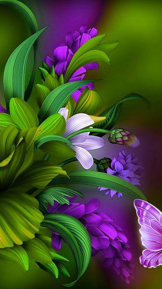 Обои на телефон фиолетовые, цветы, природа, зеленые