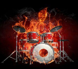 Обои на телефон вечеринка, скелет, огонь, музыка, диджей, горящий, drum, dj skeleton, dj, burning fire