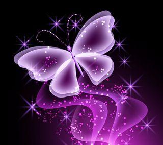Обои на телефон фиолетовые, светящиеся, неоновые, бабочки