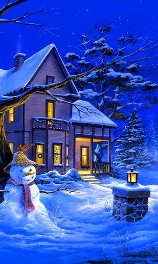 Обои на телефон дом, снеговик, снег, рождество, зима, дух, winter snow, christmas spirit, christmas house