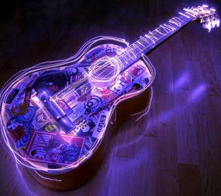 Обои на телефон гитара, фиолетовые, рок, огни, музыка, дерево, acoustic