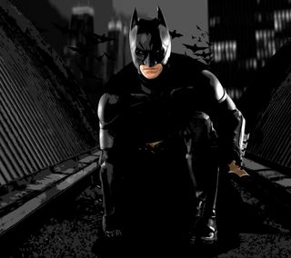 Обои на телефон темные, рыцарь, бэтмен, batman crouching