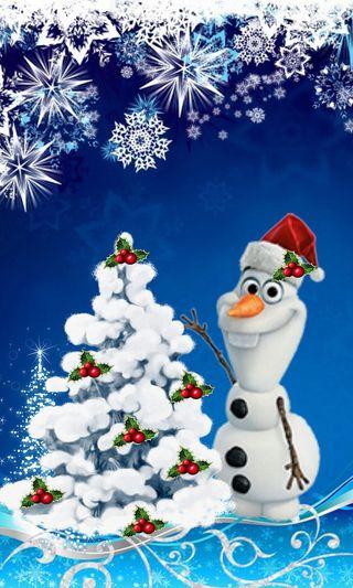 Обои на телефон холодное, счастливое, рождество, олаф, дерево
