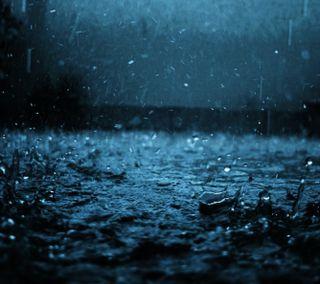 Обои на телефон мокрые, синие, капли, дождь, вода