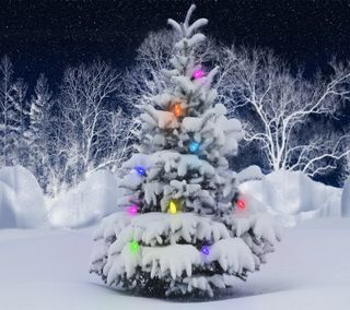 Обои на телефон украшения, снег, светящиеся, зима, рождество, огни, дерево