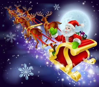 Обои на телефон счастливое, санта, рождество, ночь, sledge