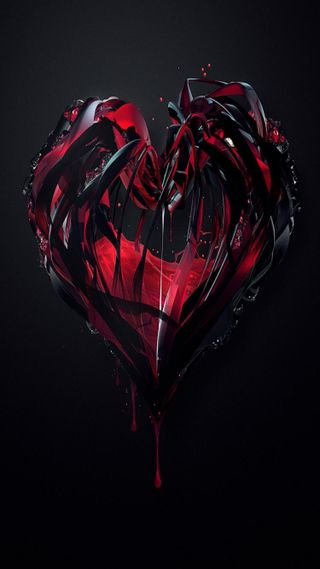 Обои на телефон кровь, черные, сердце, красые, абстрактные, 3д, 3d