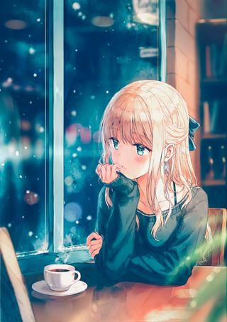 Обои на телефон синие, милые, кафе, девушки, аниме