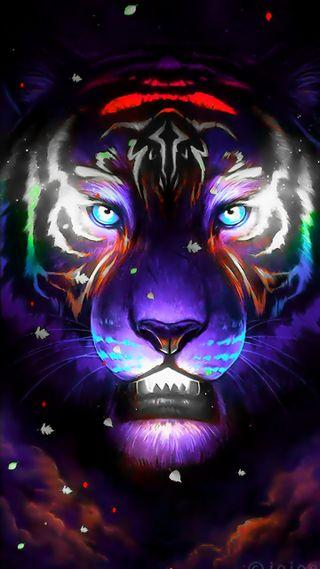 Обои на телефон душа, тигр, светящиеся, огни, неоновые, небо, лев, кошки