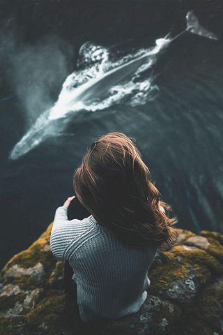 Обои на телефон холодное, природа, океан, девушки, волна