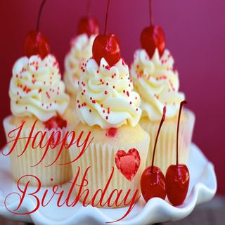 Обои на телефон вишня, счастливые, прекрасные, повод, красые, кекс, день рождения, вкусный, happy