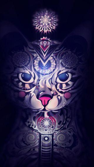 Обои на телефон тату, фантазия, кошки, арт, art