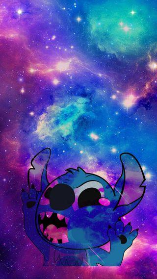 Обои на телефон стич, галактика, use coma to seperate, galaxy