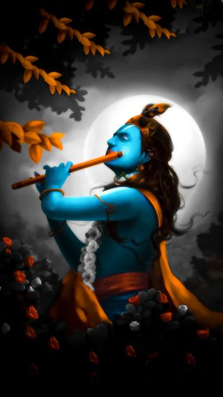 Обои на телефон art, flute, kanha, love, radhe, shree, любовь, арт, луна, бог, господин, кришна