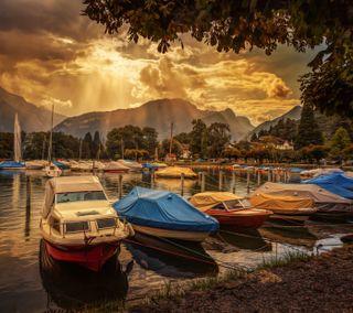 Обои на телефон швейцария, лодка, вечер, озеро, деревья