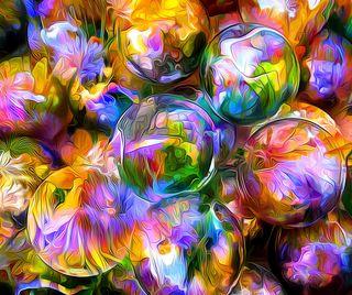 Обои на телефон размытые, шары, цветные, отражение, лепестки, rendering