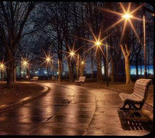 Обои на телефон вечер, парк, огни, alley