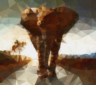 Обои на телефон многоугольник, слон, 3д, 3d