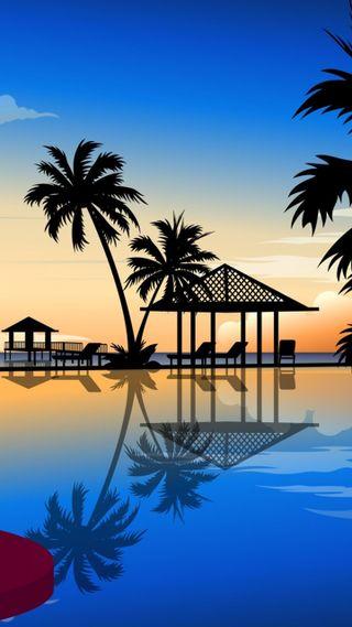 Обои на телефон релакс, пляж, vacaciones, palmeras