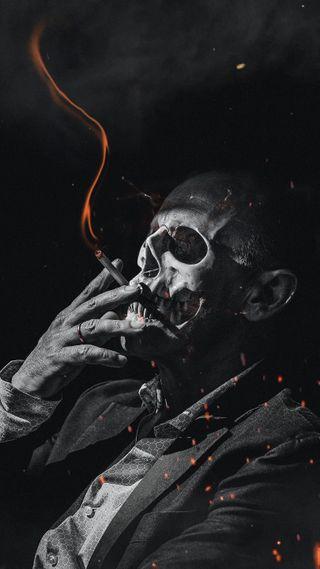Обои на телефон DARK, gloomy, particles, smoking skull guy oran, темные, череп, огонь, оранжевые, дым, смерть, сигареты, парень, кости