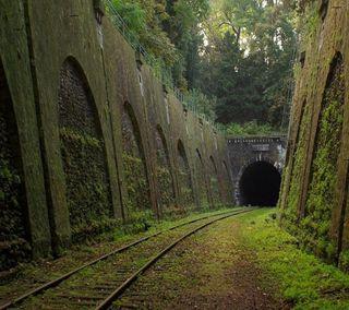 Обои на телефон туннель, поезда, старые, пейзаж, old train tunnel