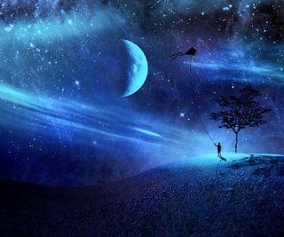 Обои на телефон холм, фантазия, луна, абстрактные