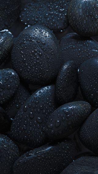 Обои на телефон черные, прекрасные, дождь, капли, камни, макро