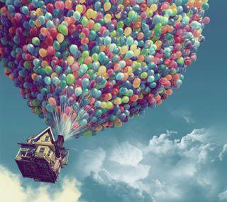 Обои на телефон шары, цветные, хижина, фантазия, облака, дом, дождь, деревня, винтаж, fantasy house