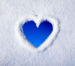 Обои на телефон снег, зима, сердце, любовь, love