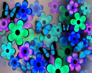 Обои на телефон коллаж, цветы, цветочные, синие, лето, бабочки, summer collage