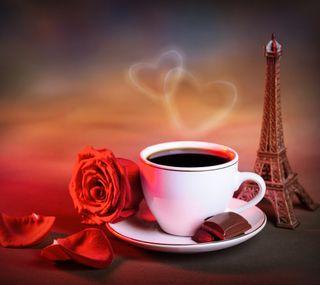 Обои на телефон париж, сердце, розы, любовь, кофе, башня, love, coffee with