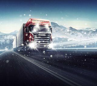 Обои на телефон грузовик, снег, зима, snowfall, scania