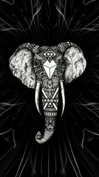 Обои на телефон слон, черные, арт, art