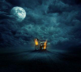 Обои на телефон жуткие, хэллоуин, темные, особняк, облака, небо, луна, дом