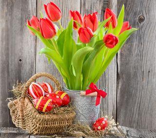Обои на телефон яйца, украшение, пасхальные, цветы, тюльпаны, красые, корзина, декор