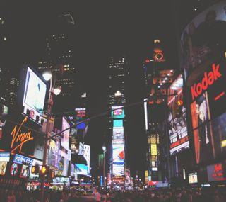 Обои на телефон квадратные, огни, ночь, люди, город, times, advertisements
