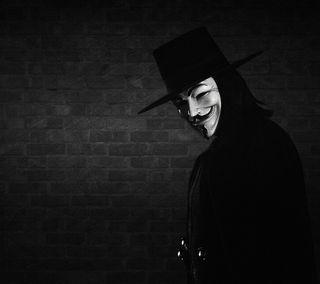 Обои на телефон кирпичи, маска, анонимус, fawkes