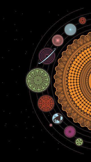 Обои на телефон солнечный, система, планеты, мир, мандала, космос, вселенная, solar mandala
