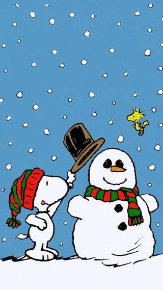 Обои на телефон снупи, снеговик, снег, рождество, праздник, коричневые, woodstock, snoopy snowman, peanuts