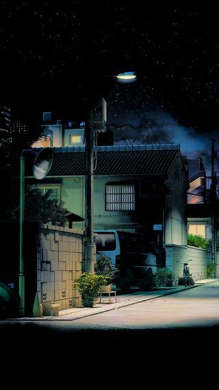 Обои на телефон улица, амолед, темные, ночь, аниме, amoled
