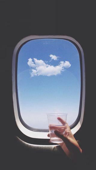 Обои на телефон самолет, один, окно, облака, a single cloud