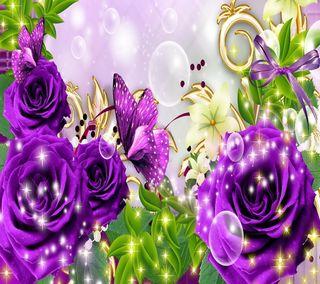 Обои на телефон фантастические, цветочные, фиолетовые, розы, бабочки, fantastic purple