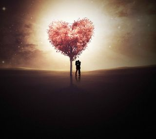 Обои на телефон экран, черные, силуэт, сердце, розовые, подарок, пара, любовь, день, возлюбленные, love screen