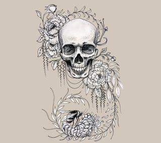 Обои на телефон панк, чернила, череп, цветы, хипстер, татуировки, тату, крутые, дизайн, арт, zedgetat1, zedgeob2, skull flower tattoo, art
